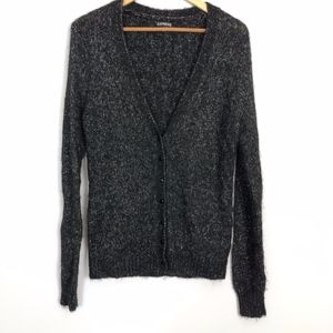 Express Black & Silver  Button-Up Cardigan Large